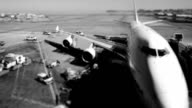 Time lapse airport black and white video