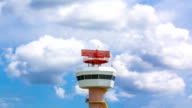 Time Lapse Airport Radar Communications Tower Plane (zoom in) video