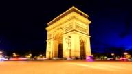 Time lapse : Arch of Triumph, Champs-Elysees in Paris video