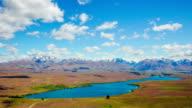 Time Lapse - Ariel View of Lake Tekapo with Mountain Range, New Zealand video