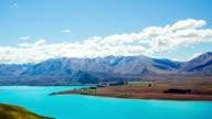 Time Lapse - Ariel View of Lake Tekapo with Mountain Range video