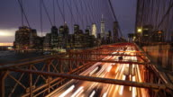 Time lapse at Brooklyn bridge with manhattan skyline, New York video