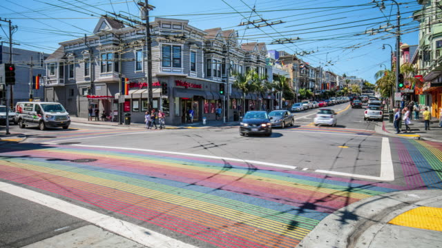Time lapse at Castro District Rainbow Crosswalk Intersection video