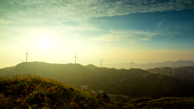 Time Lapse at sunset of a windfarm in Beauce video