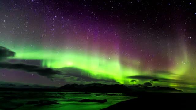 HD Time Lapse : Aurora over glacier lagoon video