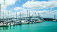Time Lapse - Beautiful Clouds Moving Over Harbor of Auckland, New Zealand video