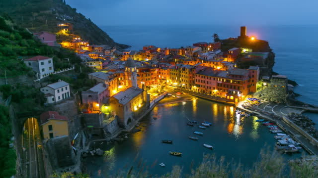 Time Lapse: Beautiful view of Vernazza town at Sunset, Cinque Terre, Liguria, Italy video