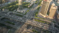 Time Lapse- Beijing, Aerial View of Busy Road Intersection (WS HA LR Pan) video