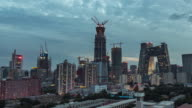 Time Lapse- Beijing Central Business District, Day to Night Transition (Zoom) video