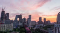 Time Lapse - Beijing Central Business District, from Day to Night (WS/Zoom) video