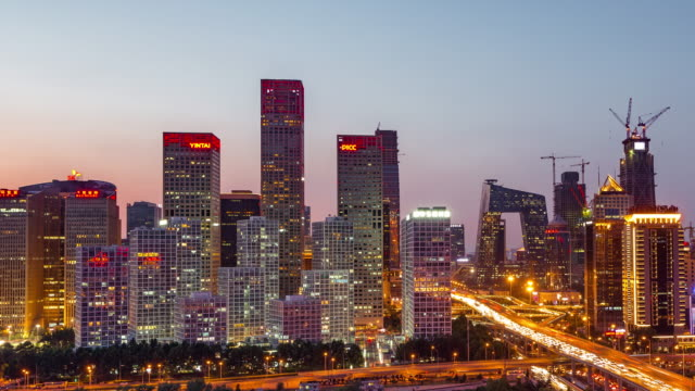 Time Lapse- Beijing Skyline at Dusk, Day to Night Transition (Panning) video