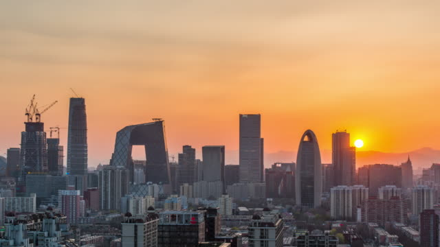 Time Lapse - Beijing Urban Skyline at sunset video