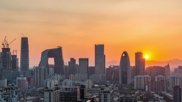 Time Lapse -  Beijing Urban Skyline at sunset (M.S. / RL Pan ) video