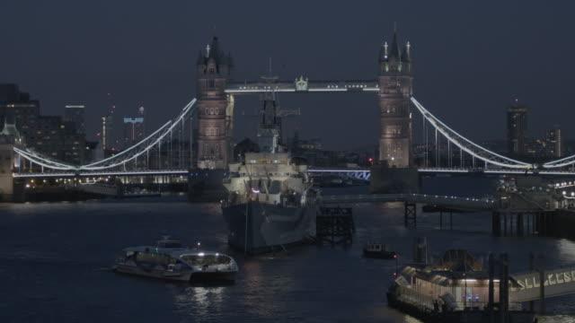 Time lapse Boat Docking at London Tower Bridge At Night video