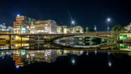 HD Time Lapse: Bridge and Office Buildings at Night video