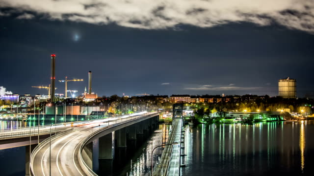 HD Time Lapse: Bridge at Night video