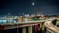 HD Time Lapse: Bridge Traffic at Night video