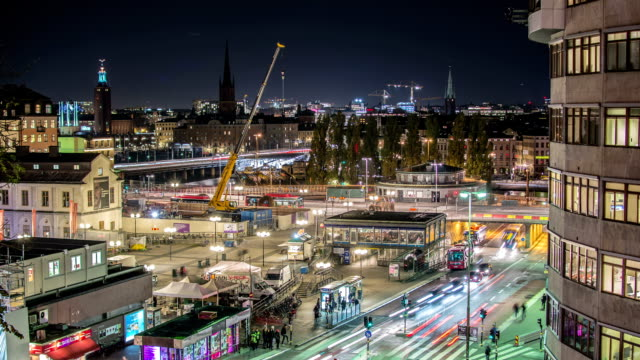 HD Time Lapse: Busy City Stockholm Tilt video