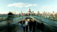 HD time lapse busy Millenium bridge London St Paul's Tate video
