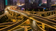 Time Lapse- Busy Road Intersection in Shanghai at Dawn, from Night to Day (Panning) video