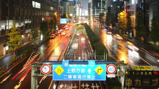 Time Lapse - Busy Tokyo street with rain video
