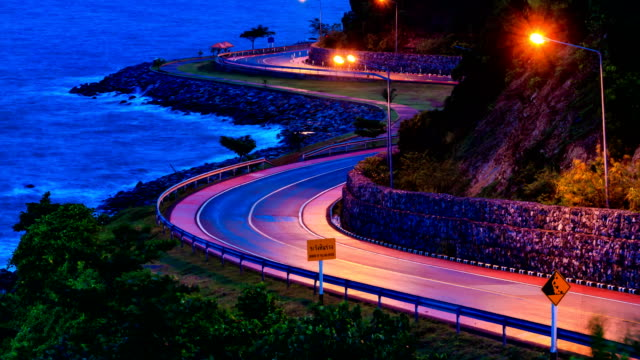 HD time lapse, Car driving on seaside road video