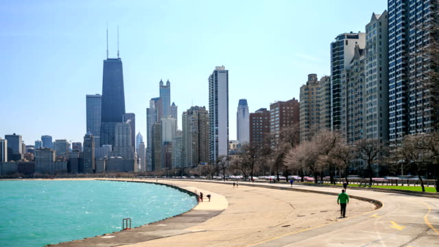 Time lapse : Chicago city at North Avenue Beach. video