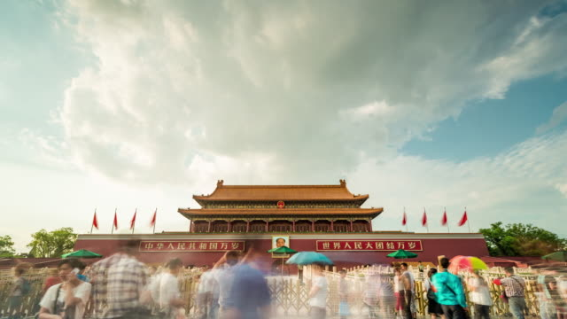Time Lapse- China, Beijing, Tiananmen Gate (WS LA Panning) video