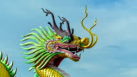 Time Lapse Chinese Golden Dragon Statue In Chiang Rai. video