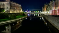 HD Time Lapse: City Canal in Stockholm Tilt video