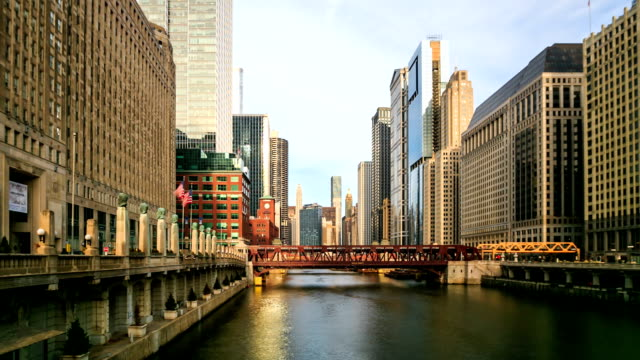 HD Time lapse : City of Chicago downtown riverside video