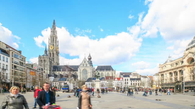 4K Time Lapse :City Pedestrian crowded Antwerp video
