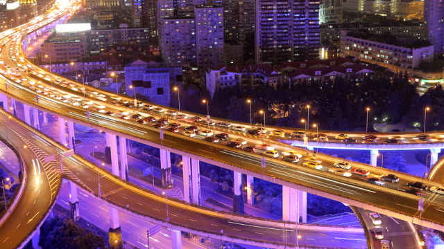 Time Lapse - City Traffic at Night (Panning) video