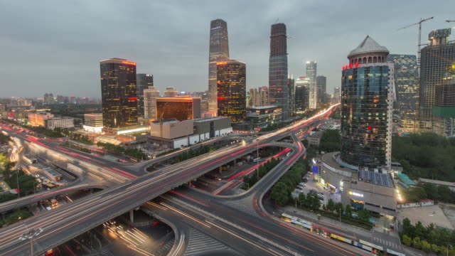 Time Lapse- City Traffic of Beijing at Night, Day to Night Transition (WS, Zoom in) video