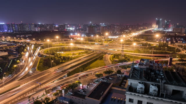 Time Lapse- City Traffic of Beijing at Night (WS Zoom in) video