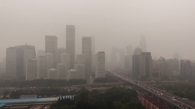 Time Lapse- Cityscape of Beijing in air pollution (Panning) video