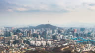 Time lapse Cityscape of Seoul with Seoul tower, South Korea. video