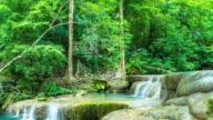 Time Lapse : Clear Water and Flow of Erawan Waterfall , Kanchanaburi, Thailand. Tilt down shot video