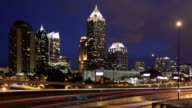 Time lapse close up Atlanta skyline at twilight video