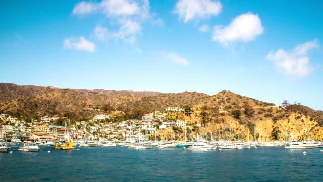 Time Lapse - Cloudscape Moving Over Avalon Harbor, Catalina Island, California video
