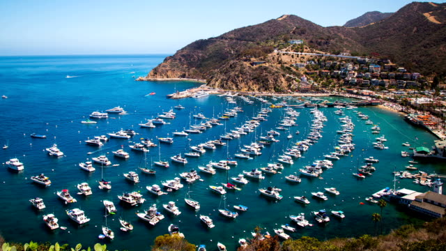Time Lapse - Cloudscape Moving Over Avalon Harbor, Catalina Island video