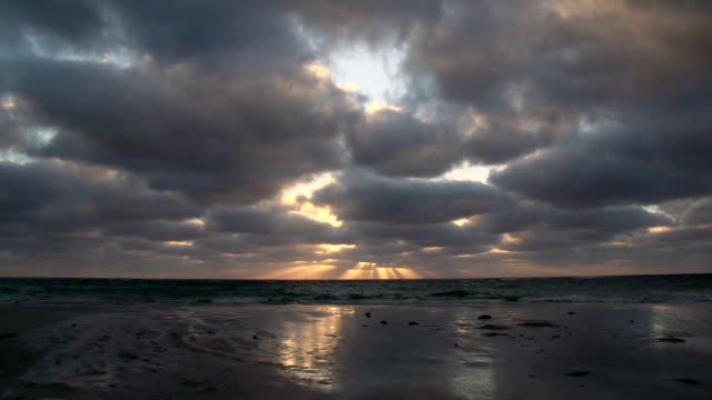 Time lapse cloudy sunset at the beach in Geraldton , Western Australia video