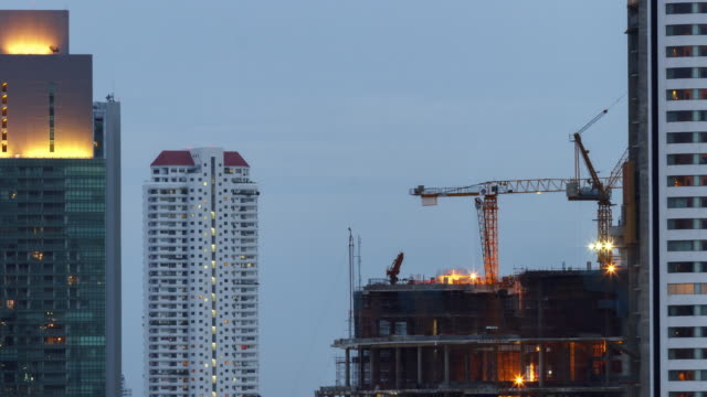 Time Lapse Construction:4K TIME LAPSE (4096x2160) DAY TO NIGHT :construction site at Bangkok, Thailand. video