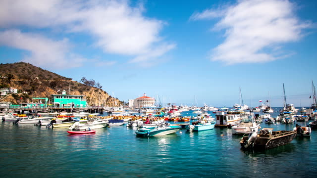 Time Lapse - Couldscape moving over Avalon Harbor in Catalina Island, California video