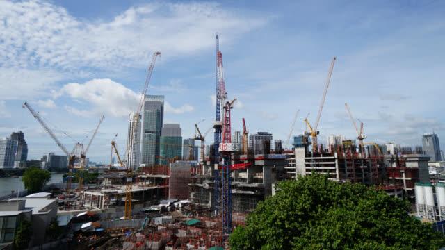4K Time lapse Crane and building underconstruction video