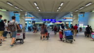 Time Lapse : Crowd of passengers in the Hong Kong international airport terminal video