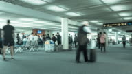 Time lapse : Crowd people at airport terminal. video
