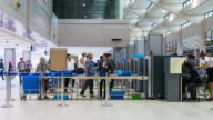 Time Lapse Crowd queueing for security check at Airport video