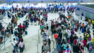 Time Lapse Crowd queueing up for check in at Airport video