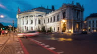 Time Lapse, Crowd waking at Burgtheater Building at dusk video